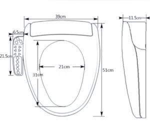 dimensions de lunette de WC japonais